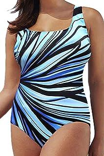 (ADOSSY) 細見えデザイン 大きいサイズ レディース水着 体型カバー ワンピース水着 おまけ バッグ 付
