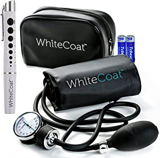 White Coat Deluxe Aneroid Sphygmomanometer Professional Blood Pressure Monitor with Adult Sized Black Cuff and Carrying