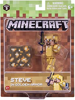 Minecraft Skeleton in Leather Armor Figure Pack Steve in Gold Armor