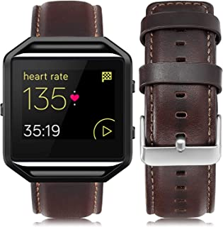 UMAXGET Leather Band Compatible with Fitbit Blaze, Retro Cowhide Genuine Leather Band with Black Silver Metal Frame Compatible with Fitbit Blaze Smart Watch Strap for Men Women