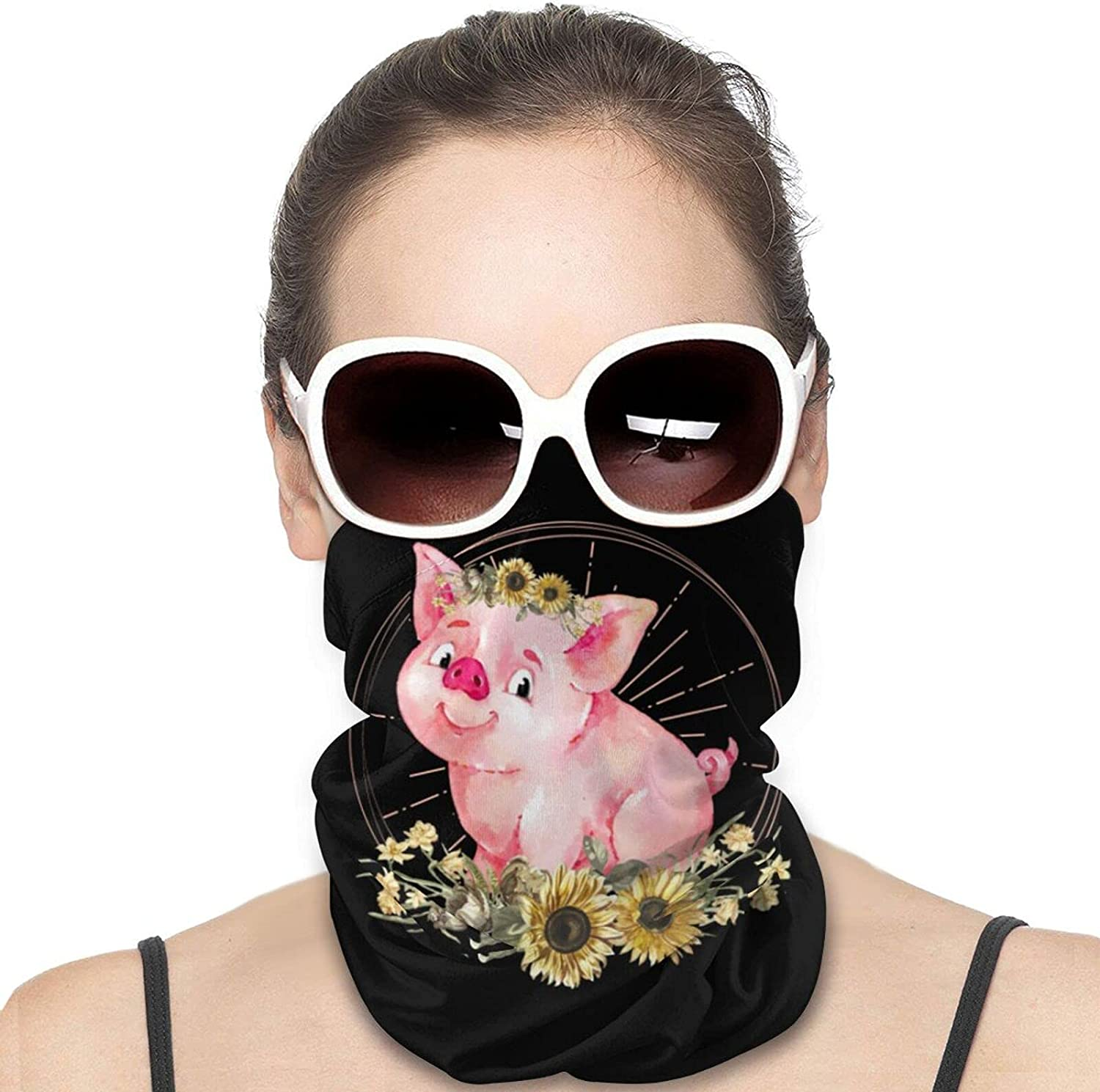 Cute Pig with Sunflowers Round Neck Gaiter Bandnas Face Cover Uv Protection Prevent bask in Ice Scarf Headbands Perfect for Motorcycle Cycling Running Festival Raves Outdoors
