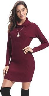 b452f2a85bb Abollria Pull Femme Col Roulé Robe Tricot Chic à Manches Longues Hiver au  Crayon Top Femme