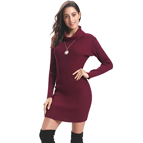 8051c1ebdd2 Abollria Womens Long Sleeve Turtle Neck Chunky Cable Knitted Jumper  Knitwear Sweater Dress