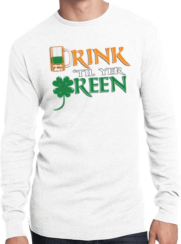 Buy Cool Shirts Mens St Patricks Day T-Shirt Drink Til Yer Green Thermal Shirt
