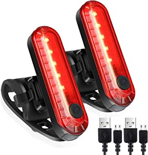 Strontex LED Rear Bike Tail Light 2 Pack, Bright USB Rechargeable Bicycle Flashlight, Waterproof, 4 Light Mode Options, 33...