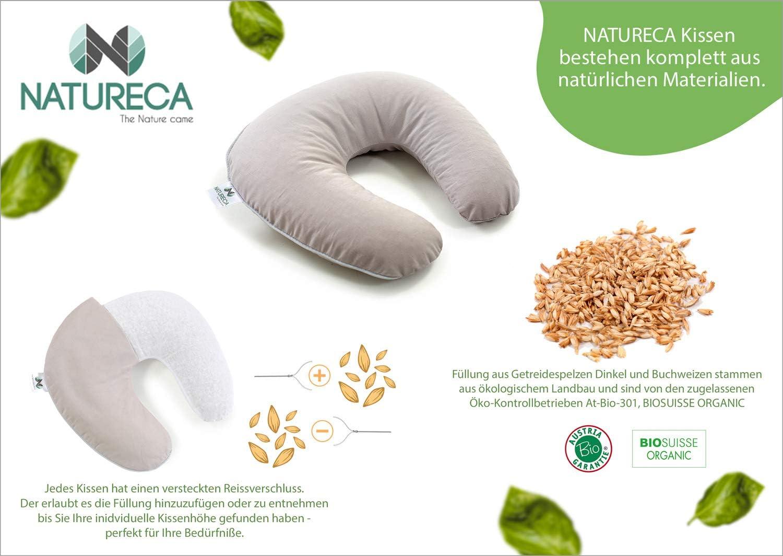 35 x 33 cm Cuscino da viaggio in grano saraceno biologico aereo cuscino aggiuntivo NATURECA rivestimento in cotone cuscino per dormire cuscino cervicale gadget da viaggio