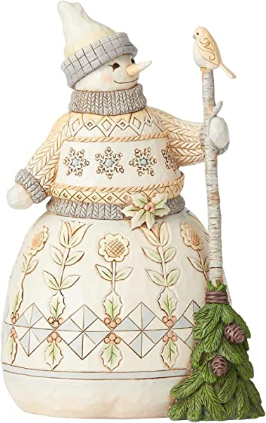 Enesco Jim Shore Heartwood Creek White Woodland Snowman With Broom Figurine 8 5 Multicolor