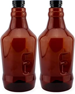 Cornucopia 64-Ounce Plastic Amber Growler Jugs (2-Pack); Half Gallon Plastic Bottles with Polycone Phenolic Caps for Beer, Kombucha, Carbonated Beverages and More