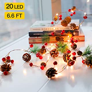 EFlash Christmas Led String Lights Christmas Bell Pine Needle Pine Cone Decorated Wire Light Christmas Bells Decorated Small Lights-2m-6.8ft /20 Led