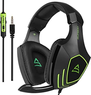 SUPSOO G820 Xbox One PS4 Estéreo Juego Auriculares Bass Gaming Headsets con micrófono de aislamiento de ruido para Xbox nuevo PS4 PC portátil Mac iPad iPod (negro y verde)