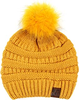 RIAH FASHION Classic Cable Knit Beanie - Soft Stretch Sweater Winter Hat Ribbed Solid, Foldable Leopard Cuff, Detachable Pom Pom