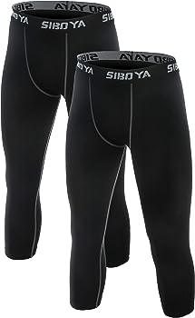2-Pack Siboya Men's Compression 3/4 Capri Shorts