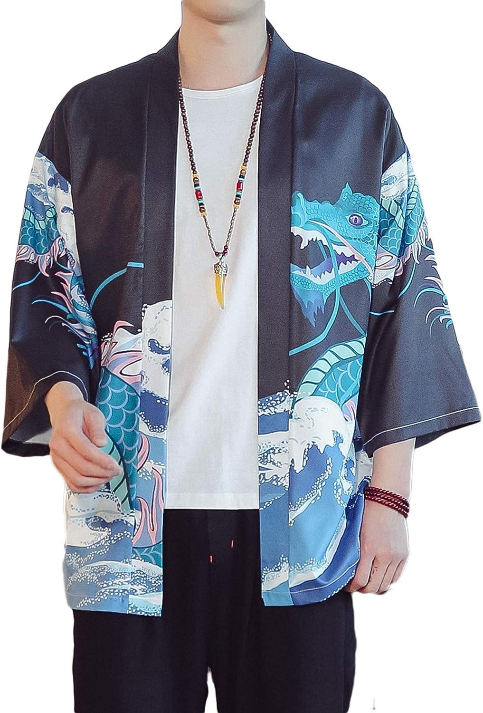 PRIJOUHE Men's Lightweight Kimono Jacket Seven Sleeve Open Front Cardigan Coat Japanese Style Bathrobe
