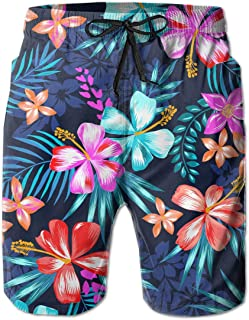 Tropical Colorful Flowers Palm Tree Leaves Surfing Pocket Elastic Waist Men's Beach Pants Shorts Beach Shorts Swim Trunks