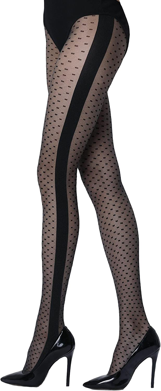 Sheer patterned pantyhose Zoe women black Aurellie sizes Small - Large