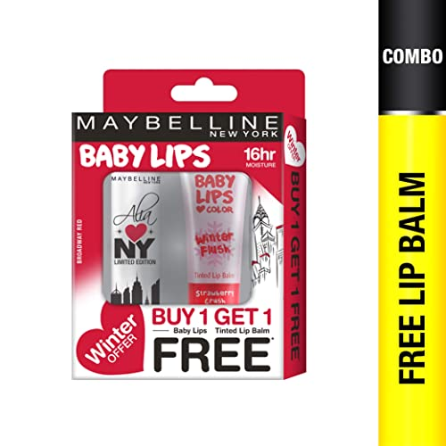 Maybelline New York Winter Promo, Broadway Red, 4g with Free Strawberry Crush, 9ml