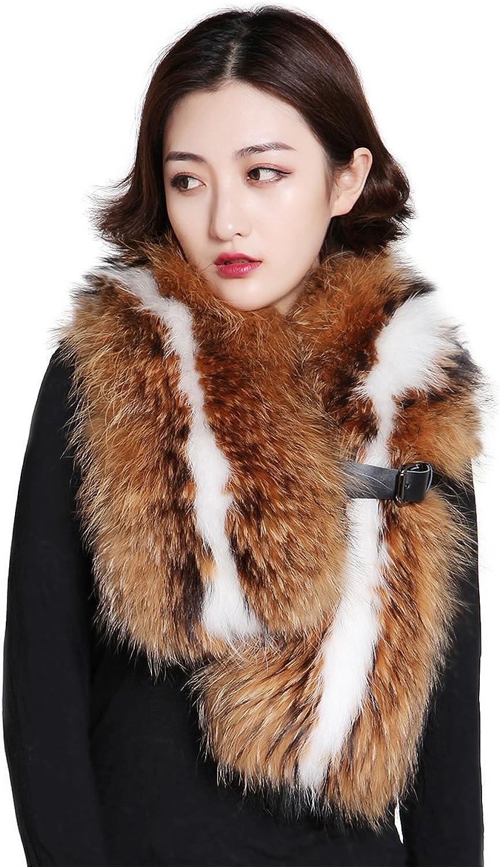 FEISSI Real Raccoon Fur Scarf Wrap Shawl Stole