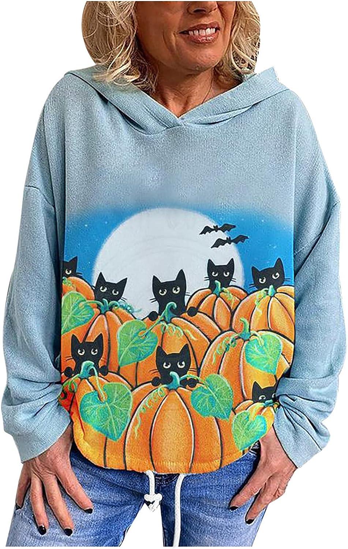 Women's Casual Long Sleeve Hoodie Halloween Pumpkin Cat Print Thick Sweatshirt Blouse Plus Size Pullovers
