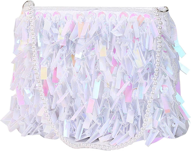Meyaus Women Retro Sequins Evening Party Clutch Handbag Chain Strap Crossbody Bag