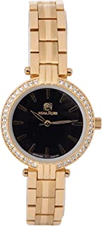 Nina Rose Luxurious and Distinctive Casual Analogue Watch for Women, Gold-Black Dial