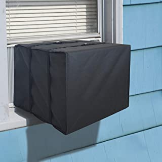 Window Air Conditioner Cover Heavy Duty Winter Outdoor Window AC Unit Bottom Covered with Adjustable Straps to Prevent Cold drafts from Entering The House Through Window AC (25.5