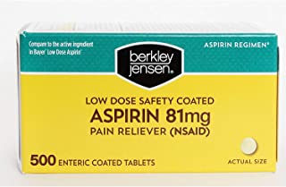 Berkley and Jensen Safety Enteric Coated Aspirin Low Strength Aspirin Regimen 81mg (NSAID) Per Tablet 500 Tablet Bottle