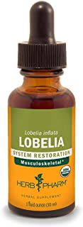 Herb Pharm Certified Organic Lobelia Liquid Extract for Musculoskeletal System Support - 1 Ounce (DLOBEL01)