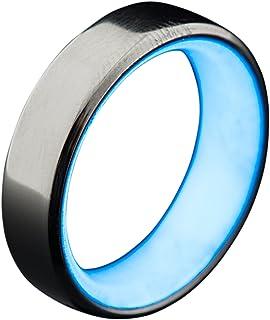 حلقة متوهجة من التيتانيوم للرجال من Carbon 6 - مصنوعة يدويًا، الحد الأدنى، شريط تيتانيوم مع جزء داخلي مشحون بضوء الأشعة فو...