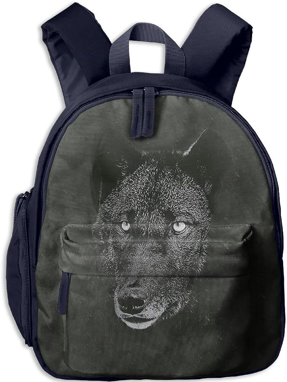 Lightweight Kids School Black Wolf Backpack