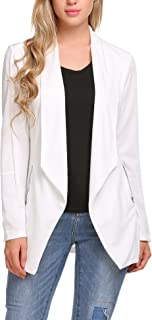 Womens Long Blazer Work Office Stretchy Open Front Lapel Jacket Solid Knit Blazers S-XXL