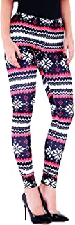 Womens Autumn Winter Snowflake Graphic Printed Stretchy Leggings Pants