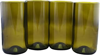 Tumbler Drinking Glasses Made From Recycled Wine Bottles 16 OZ - set of 4 (Amber, 16 Oz)