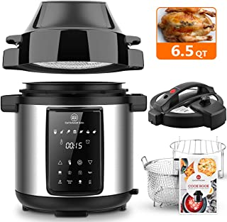 6.5Qt Pressure Cooker and Air Fryer Combos, Multi-Cooker with Pressure & Crisping Lid, Steamer Cooker, 1500W Pressure Rice Cooker, LED Touchscreen, 3-Qt Air Fry Basket, Air Fryer with Free Recipe Book