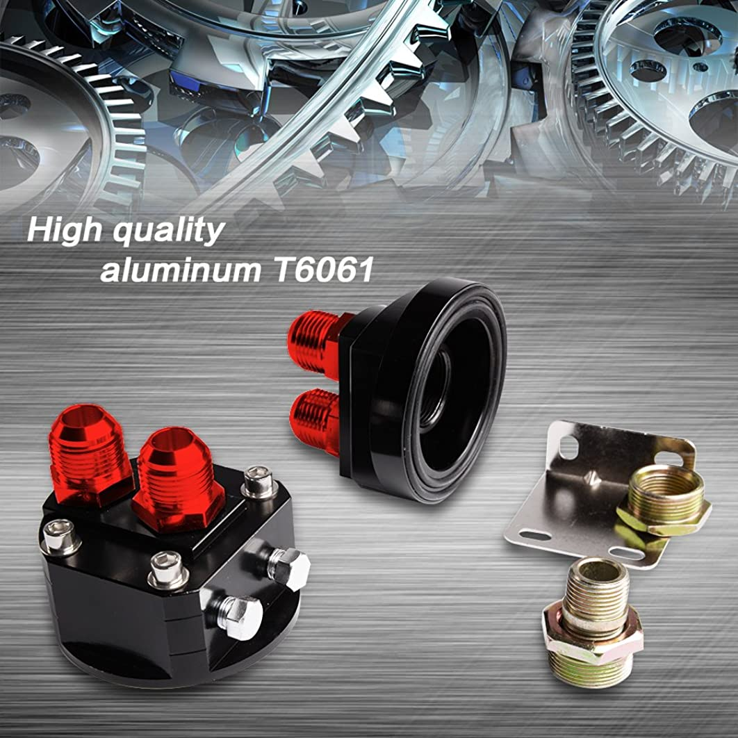 2PCS Aluminum Oil Filter Relocation Male Sandwich Fitting Adapter Plate Kit 3/4X16 / M20X1.5 Red and Black