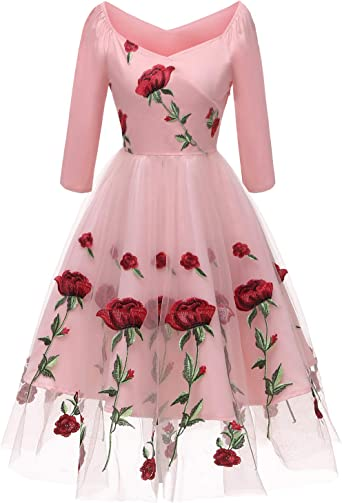 Vintage 50/'s Wiggle Dress Size M Pink /& White Floral Embroidery