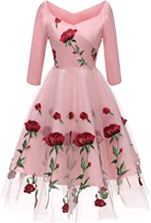 Aofur Women's Vintage Style Rose Embroidered 1950s Rockabilly Evening Party Lace Swing Tea Dress A Line Dresses