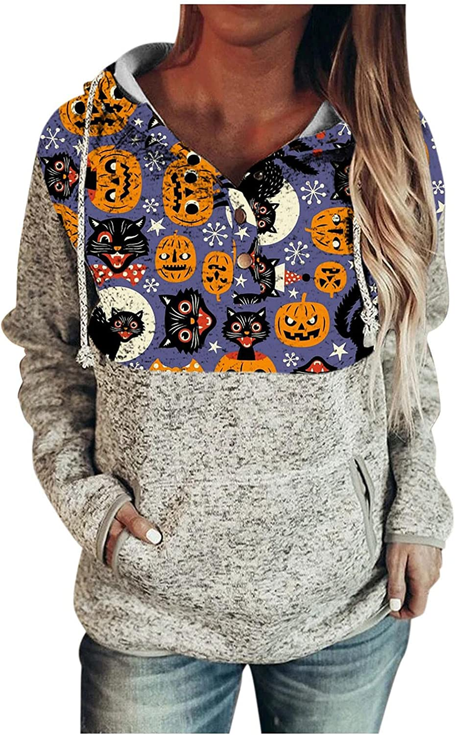 felwors Hoodies for Women, Womens Pullover Button Down Drawstring Sweatshirts with Pockets Casual Long Sleeve Hoodies