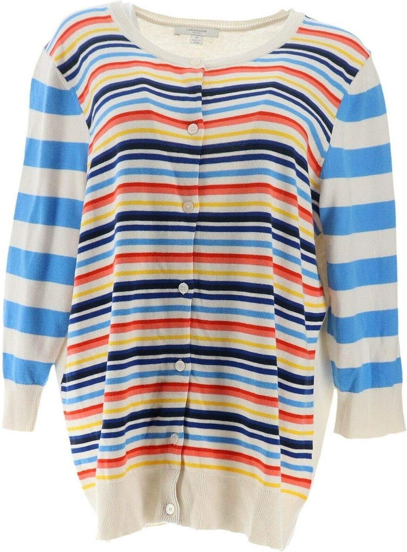 LIZ CLAIBORNE NY Mixed Stripe Cardigan Blue Multi XS New A262182