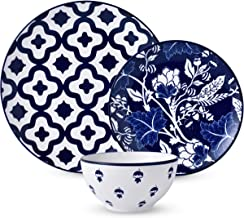 12-Piece Dinnerware Set,Wisenvoy Dishes Dinner Plate Set Service for 4, Royal Blue Ceiba