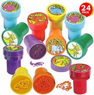 ArtCreativity Dinosaur Stampers for Kids, Pack of 24, Pre-Inked Dino Stampers for Children, Dinosaur Birthday Party Supplies and Favors, Piñata Fillers, Arts n Crafts, Assignment Stamps for Teachers