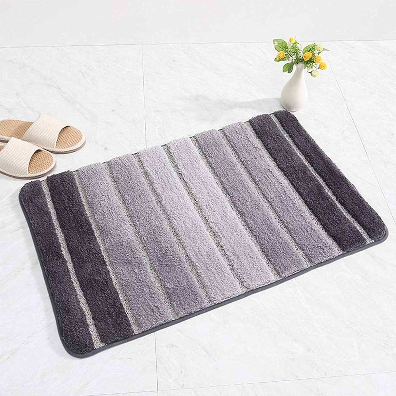 MING REN Floor Mat - Chemical Fiber, Soft And Comfortable, Thick Water Absorption, Reactive Dyes, Striped Scratch-resistant Wear-resistant Bedroom Door Bathroom Kitchen Absorbent Carpet Mat Door Mat -