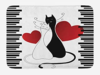 Cats Bath Mat, Romantic Kittens Pets Couple Two Tails Hearts and Black Stripes Valentine's Love, Plush Bathroom Decor Mat with Non Slip Backing, 23.6 W X 15.7 W Inches, White Black Red