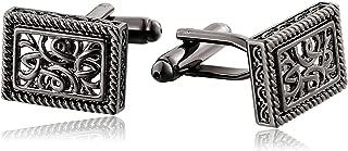 Aooaz Jewelry Cufflinks for Men Flower Pattern Rectangle Wedding Cufflinks Black