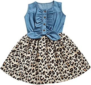 2019 New Toddler Kid Baby Girl Sleeveless Bownot Button Denim Leopard Printed Ruched Princess Dress Clothes