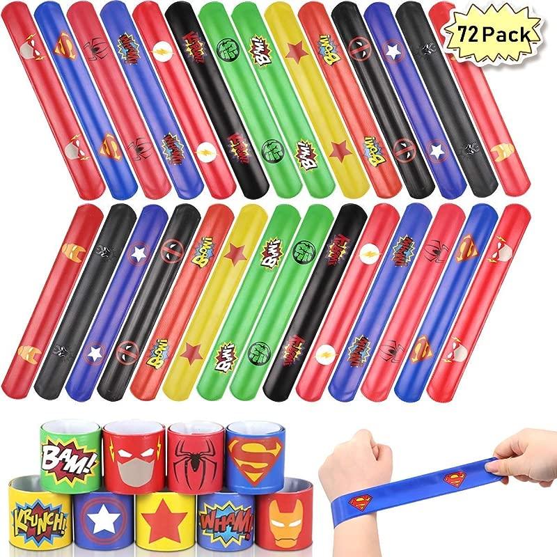 POKONBOY 72 Pack Superhero Slap Bracelet For Kids Party Favors Slap Bracelets For Boys Girls Superhero Party Supplies Superhero Birthday Party Favors