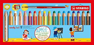 STABILO Woody 3-in-1 Multi-Talented Pencil with Sharpener and Paint Brush - Assorted Colours, Wallet of 18