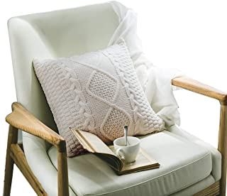 DOKOT Decorative Knitted Throw Pillow Cover, Cotton Square Warm Cushion Case with Cable Knit and Diamond Check Pattern for Home Office Car Sofa, 18 x 18 inch, Beige