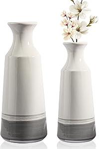 Ceramic Modern Vase for Decor, Unique Handmade Ceramic Vase, Suitable for Home Decoration, Wedding Decoration, White with Light Gray Base, Set of 2