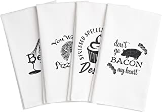 Cooking Up Laughs Funny Kitchen Towels. Set of 4 Tea Towels with Sayings. Funny Dish Towels for Housewarming Gift, Christmas, Birthday or Mothers Day. Cotton Flour Sack Towels, Cute Novelty Gifts
