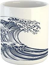 Ambesonne Japanese Wave Mug, Oriental Vintage Wave Monochrome Kanagawa Inspired Antique Art, Ceramic Coffee Mug Cup for Water Tea Drinks, 11 oz, Navy Blue